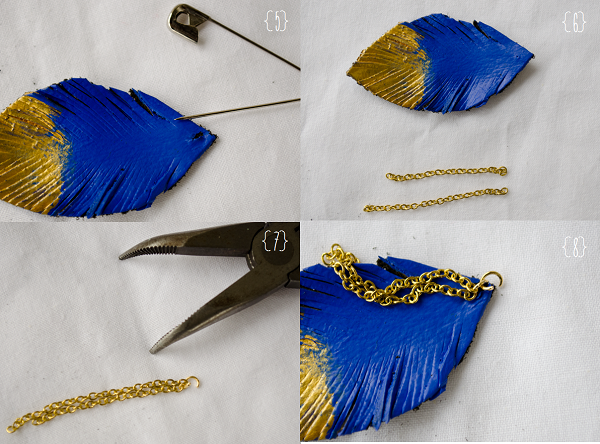 _CIY: Leather Feather Earrings :: www.happinessiscreating.com