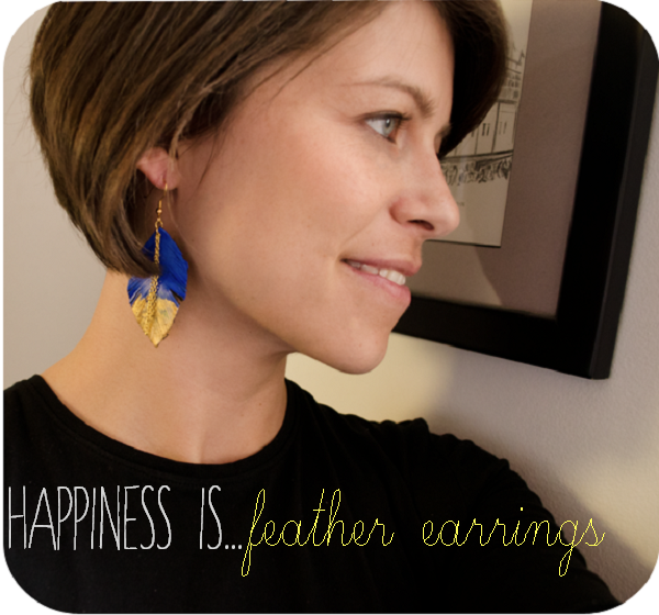 CIY: Leather Feather Earrings :: www.happinessiscreating.com