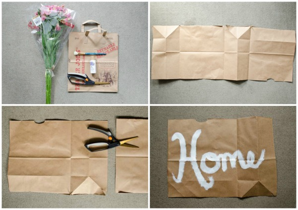 Make a cute flower holder out of a Trader's Joe's bag!  www.happinessiscreating.com