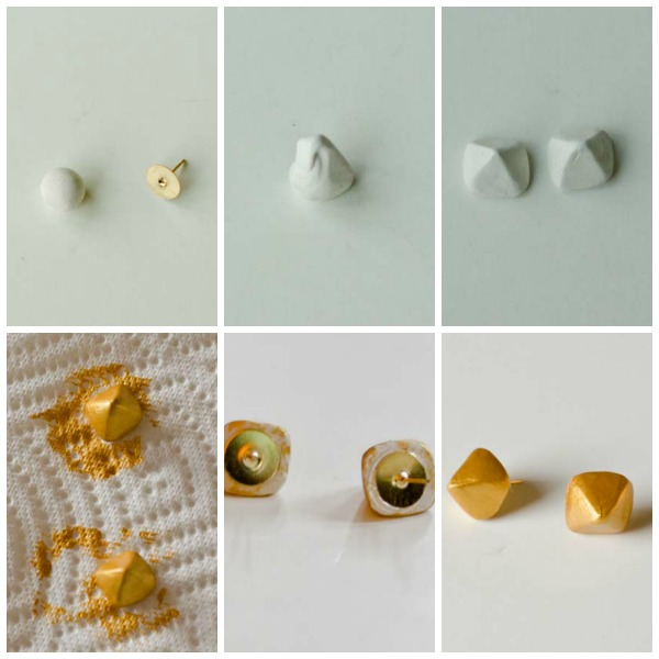Make your own geometric earrings out of clay! :: www.happinessiscreating.com