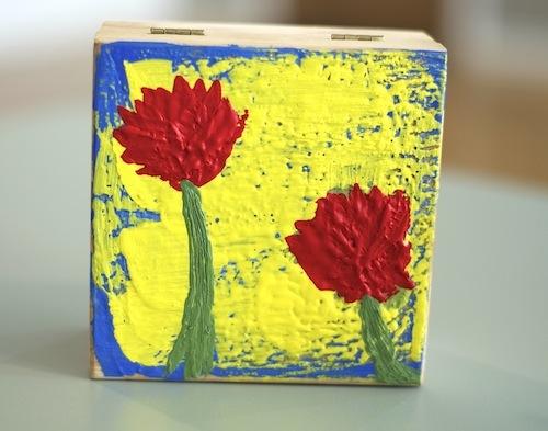 Encaustic painted wooden box :: www.blitsy.com