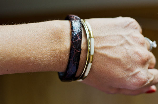 Create a faux leather bracelet with paper!  www.happinessiscreating.com #DIY