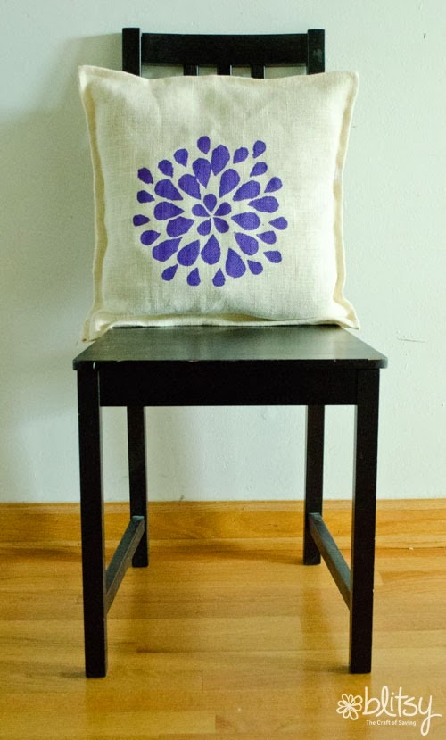 DIY Stenciled burlap pillow:: via www.blitsycrafts.com