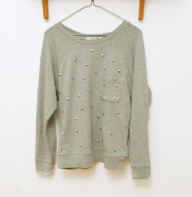 Add studs to a sweatshirt for a trendy top!  www.happinessiscreating.com