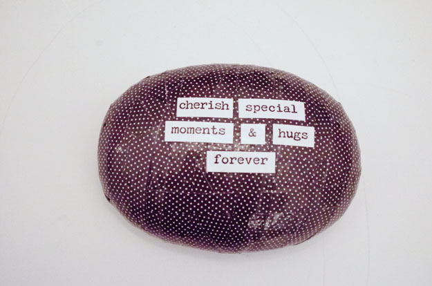 Turn a dollar store paper weight into a modern cute quote!  www.happinessiscreating.com