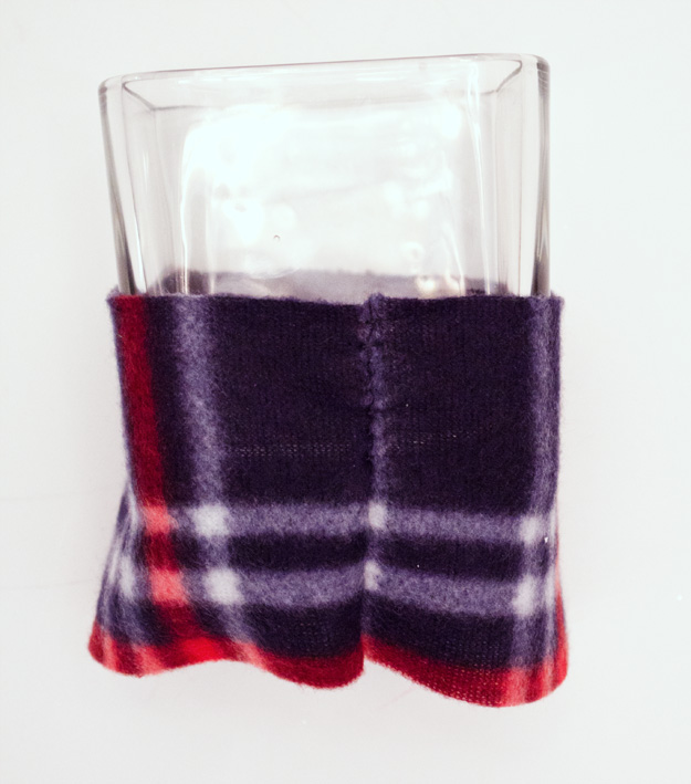 Dollar Store Craft Challenge: dollar store candle turned a winter candle with a sweater. :: www.happinessiscreating.com