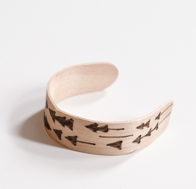 DIY Wood Burned Popsicle Stick Bracelets. ::: www.happinessiscreating.com