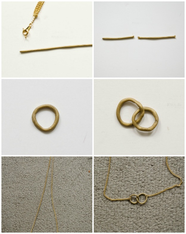 DIY Gold Clay Ring Necklace #happinessiscreating