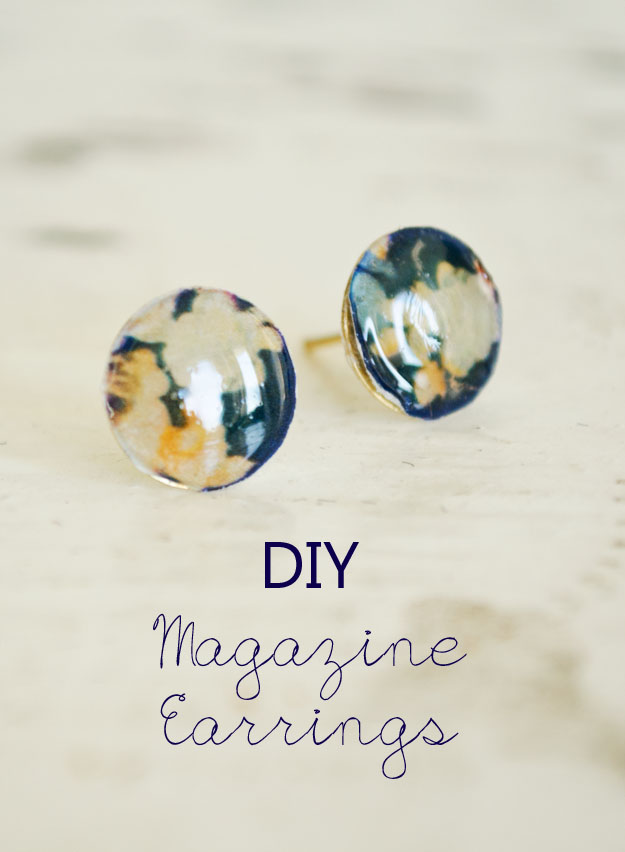 1Use magazine to create these one-of-a-kind stud earrings! #happinessiscreating