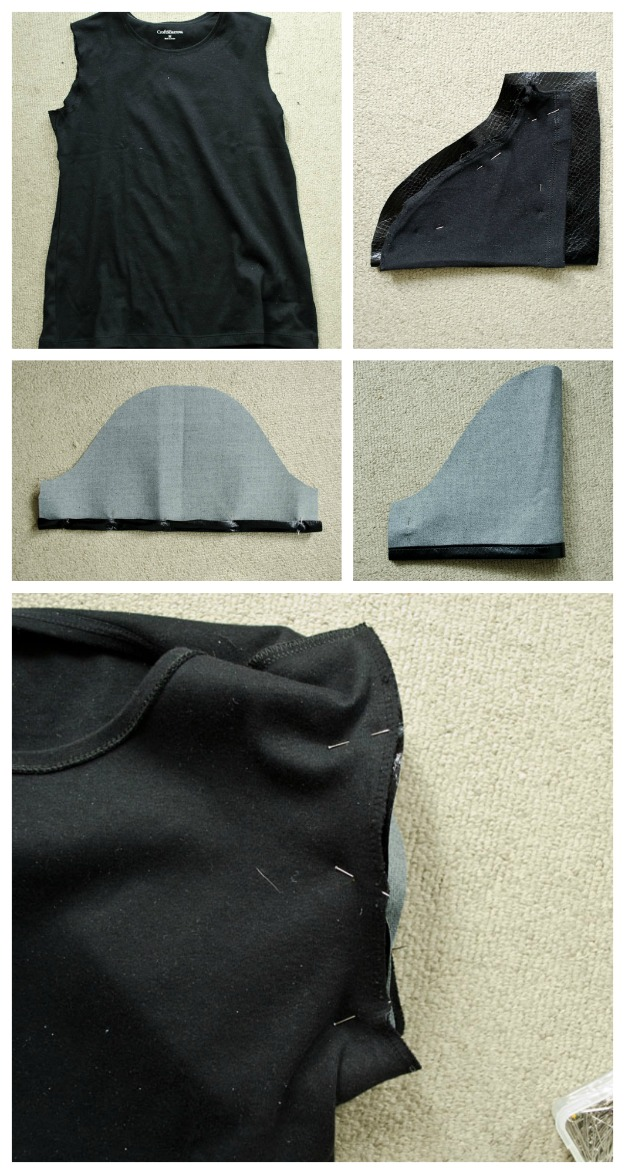 Add pleather sleeves to a plain t-shirt for instant edgy style! #DIY #happinessiscreaing