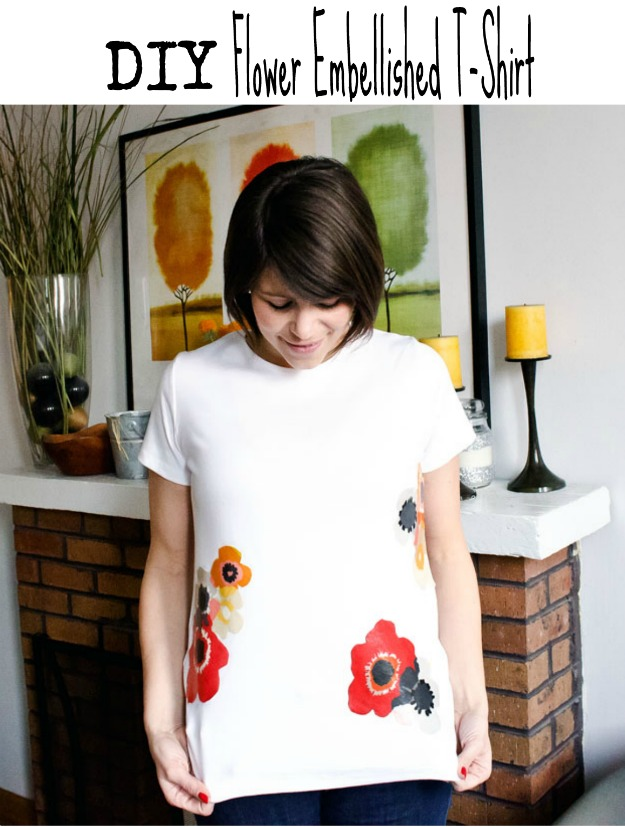 T-shirt challenge - flower applique shirt #happinessiscreating