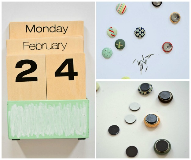 DIY brad magnets and painted calendar