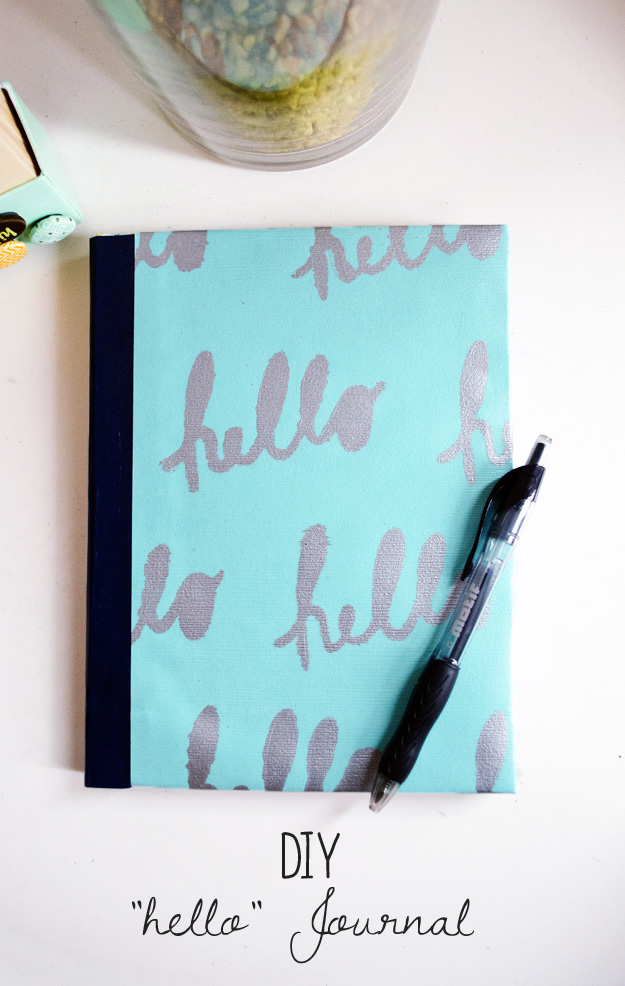"DIY ""hello"" journal happinessiscreating.com"