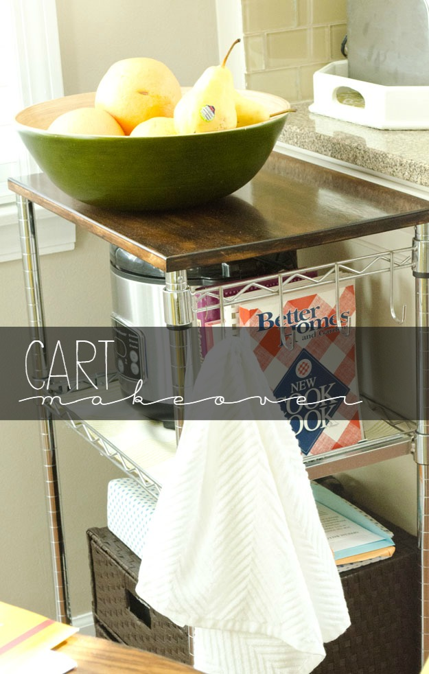 diy, kitchen cart, makeover, wood stain