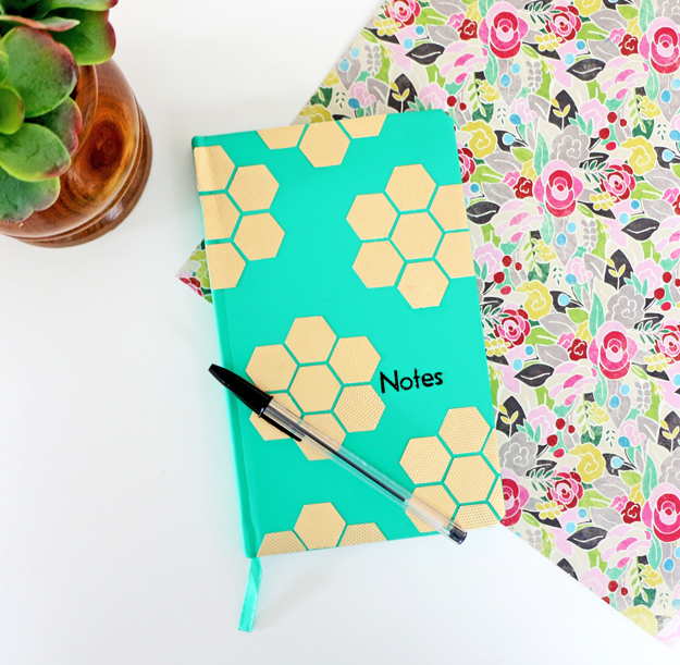 DIY Gold Hexagon Embellished Journal
