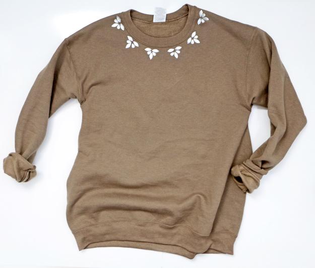 Easy DIY embellished sweatshirt perfect for Fall!