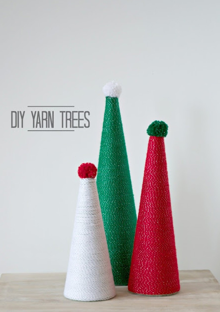 Easy DIY Christmas Tree using a styrofoam cone and yarn