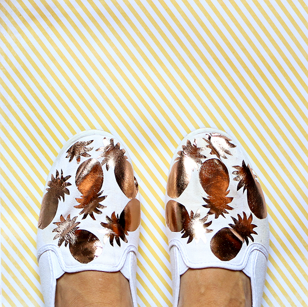 DIY Gold Metallic Pineapple Shoes