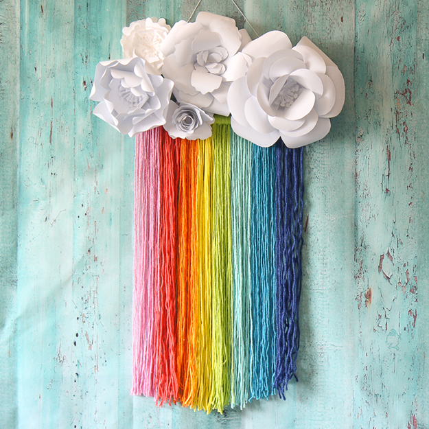 rainbow macrame paper flower wall hanging-1