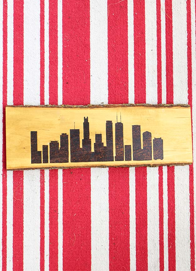 DIY Wood Burned Chicago Skyline Sign