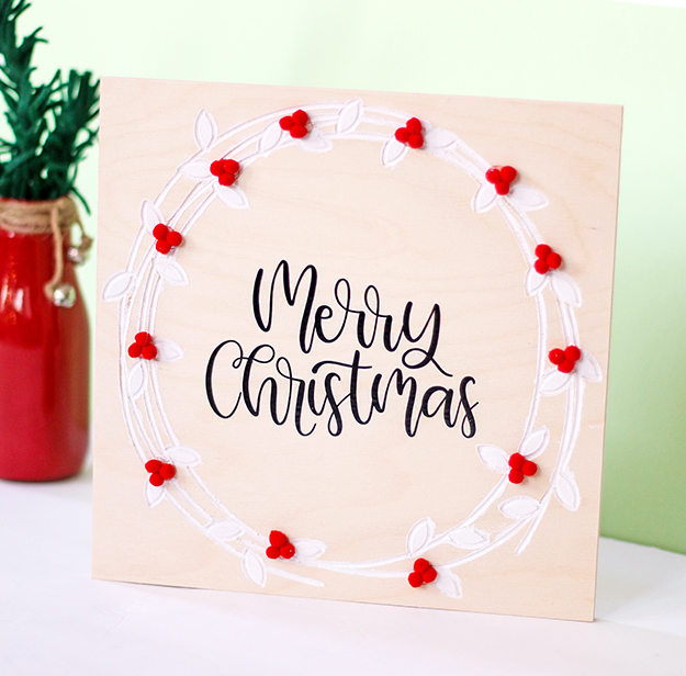 DIY Holly Wreath Christmas Sign