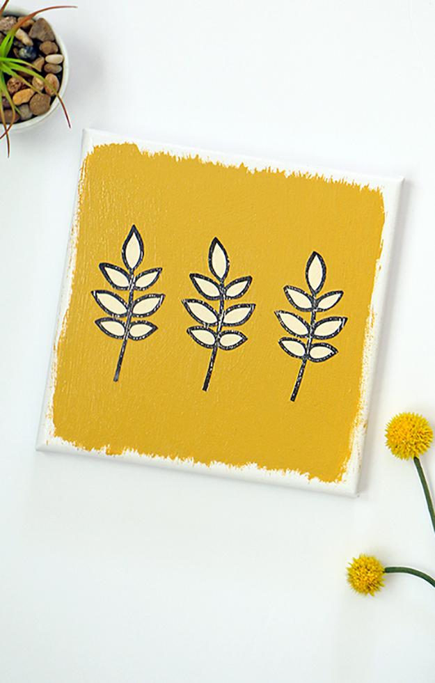 DIY Stamped Canvas Art
